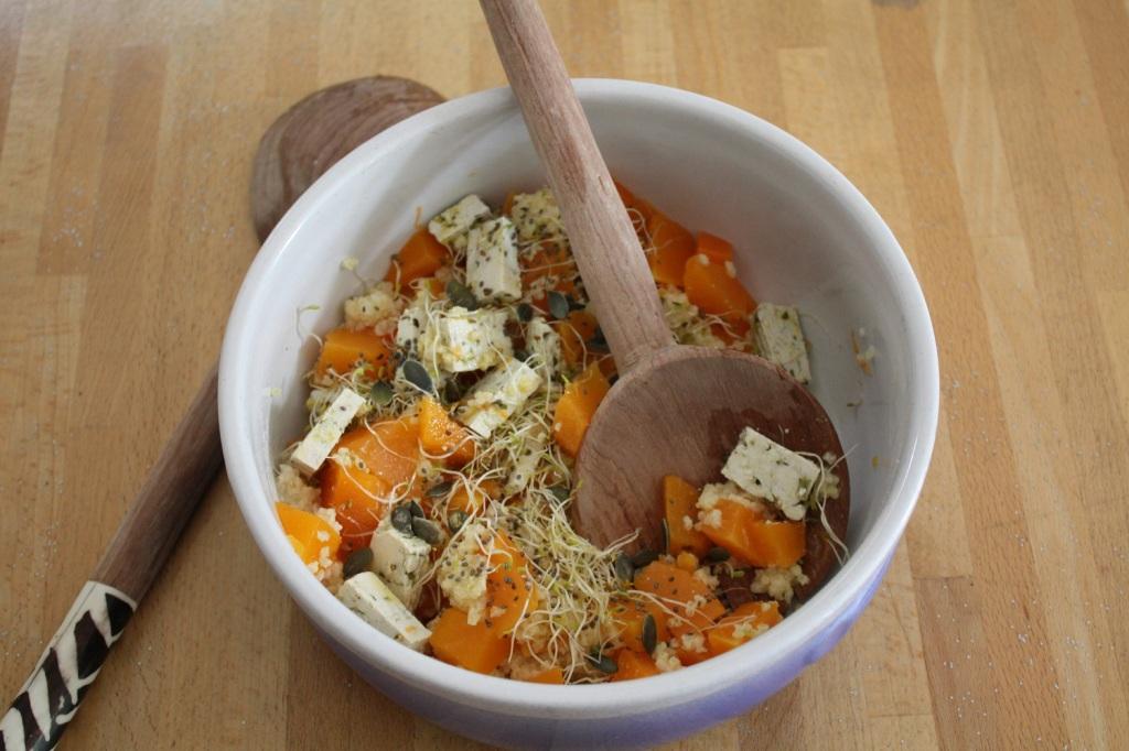 taboulé automne,vegan,courge,tofu